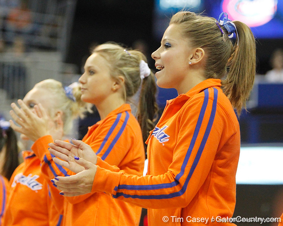 Florida sophomore Mackenzie Caquatto cheers for a teammate during the Gators' 196.175-191.875 win against the Illinois-Chicago Flames on Friday, January 13, 2012 at the Stephen C. O'Connell Center in Gainesville, Fla. / Gator Country photo by Tim Casey