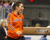 Florida sophomore Alaina Johnson cheers for teammates during the Gators' 196.175-191.875 win against the Illinois-Chicago Flames on Friday, January 13, 2012 at the Stephen C. O'Connell Center in Gainesville, Fla. / Gator Country photo by Tim Casey