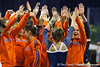 Florida freshman Kiersten Wang gets congratulated by fans after performing on the vault during the Gators' 196.175-191.875 win against the Illinois-Chicago Flames on Friday, January 13, 2012 at the Stephen C. O'Connell Center in Gainesville, Fla. / Gator Country photo by Tim Casey