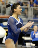 Florida junior Marissa King celebrates after performing on the balance beam during the Gators' 196.175-191.875 win against the Illinois-Chicago Flames on Friday, January 13, 2012 at the Stephen C. O'Connell Center in Gainesville, Fla. / Gator Country photo by Tim Casey
