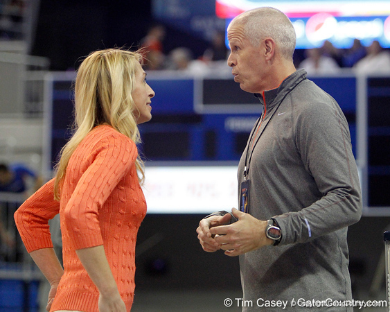 Florida head coach Rhonda Faehn talks with athletics director Jeremy Foley after the Gators' 196.175-191.875 win against the Illinois-Chicago Flames on Friday, January 13, 2012 at the Stephen C. O'Connell Center in Gainesville, Fla. / Gator Country photo by Tim Casey