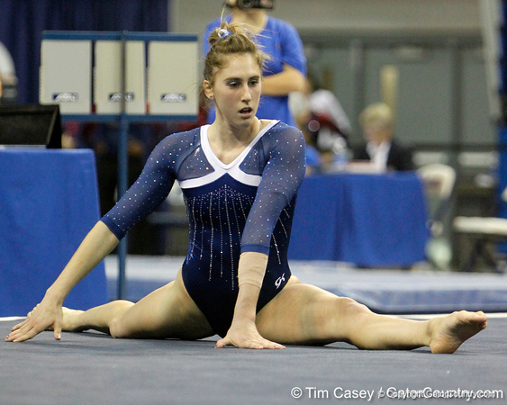 Florida sophomore Lauren Rose performs on the floor exercise during the Gators' 196.175-191.875 win against the Illinois-Chicago Flames on Friday, January 13, 2012 at the Stephen C. O'Connell Center in Gainesville, Fla. / Gator Country photo by Tim Casey
