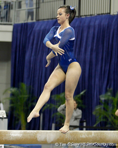 Florida senior Elizabeth Mahlich performs on the balance beam during the Gators' 196.175-191.875 win against the Illinois-Chicago Flames on Friday, January 13, 2012 at the Stephen C. O'Connell Center in Gainesville, Fla. / Gator Country photo by Tim Casey