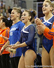 Florida freshman Kiersten Wang cheers for a teammate during the Gators' 196.175-191.875 win against the Illinois-Chicago Flames on Friday, January 13, 2012 at the Stephen C. O'Connell Center in Gainesville, Fla. / Gator Country photo by Tim Casey