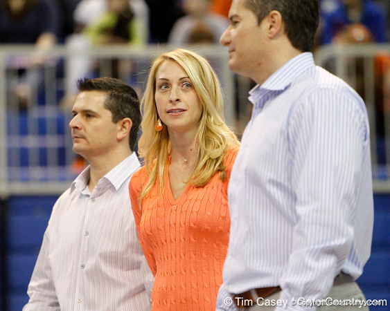 Florida head coach Rhonda Faehn watches her team compete in the floor exercise during the Gators' 196.175-191.875 win against the Illinois-Chicago Flames on Friday, January 13, 2012 at the Stephen C. O'Connell Center in Gainesville, Fla. / Gator Country photo by Tim Casey