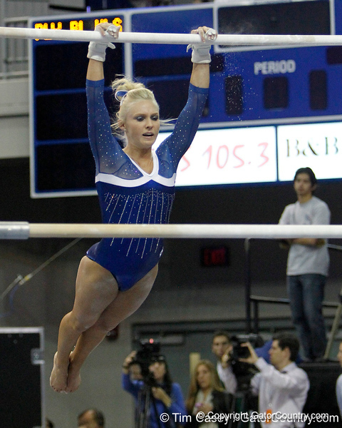 Florida freshman Rachel Spicer performs on the uneven parallel bars during the Gators' 196.175-191.875 win against the Illinois-Chicago Flames on Friday, January 13, 2012 at the Stephen C. O'Connell Center in Gainesville, Fla. / Gator Country photo by Tim Casey