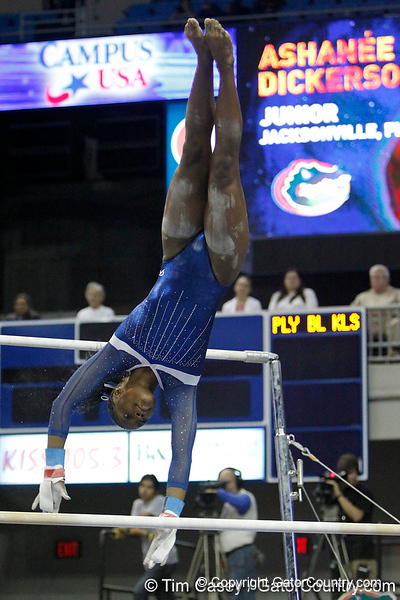 Florida junior Ashanée Dickerson performs on the uneven parallel bars during the Gators' 196.175-191.875 win against the Illinois-Chicago Flames on Friday, January 13, 2012 at the Stephen C. O'Connell Center in Gainesville, Fla. / Gator Country photo by Tim Casey