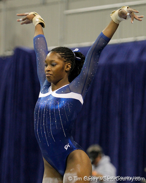 Florida junior Ashanée Dickerson performs on the balance beam during the Gators' 196.175-191.875 win against the Illinois-Chicago Flames on Friday, January 13, 2012 at the Stephen C. O'Connell Center in Gainesville, Fla. / Gator Country photo by Tim Casey