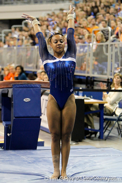 Florida freshman Kytra Hunter performs on the vault during the Gators' 196.175-191.875 win against the Illinois-Chicago Flames on Friday, January 13, 2012 at the Stephen C. O'Connell Center in Gainesville, Fla. / Gator Country photo by Tim Casey