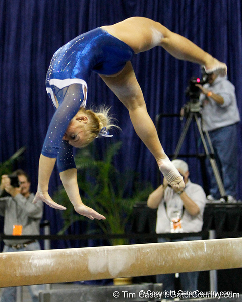 Florida junior Randy Stageberg performs on the balance beam during the Gators' 196.175-191.875 win against the Illinois-Chicago Flames on Friday, January 13, 2012 at the Stephen C. O'Connell Center in Gainesville, Fla. / Gator Country photo by Tim Casey