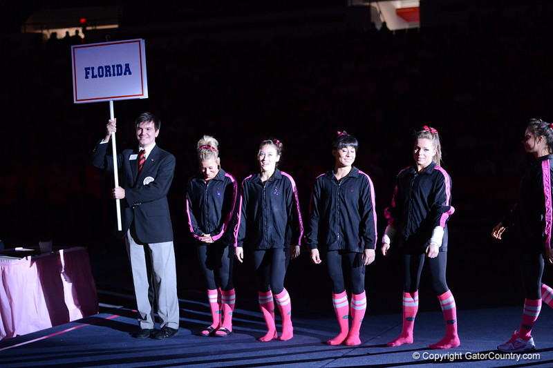 Introduction of Gator Team for the Florida - Georgia Gymnastics meet in Athens, GA, February 16, 2013