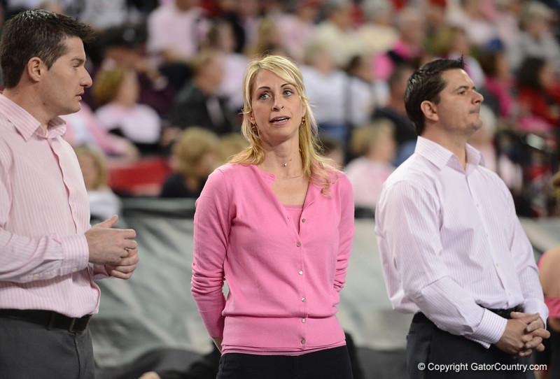 Florida vs Georgia, Feb 16, 2013 - Coaching Staff keeping a watchful eye on the Gator Floor competition