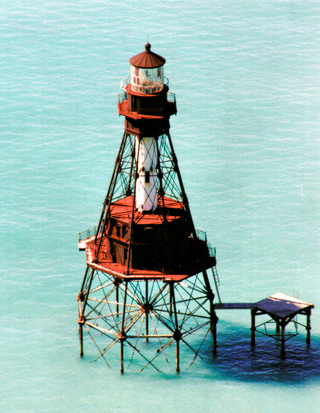 A flashing 1st Order Fresnel lens constructed by Henry-Lepaute of Paris was installed in the 12 foot diameter lantern room.  An additional $50,000 appropriation in March 1880 was made to complete the lighthouse.  On July 15, 1880 Head Keeper William Bates, who had transferred from the Sombrero Key Light, lighted the American Shoal Lighthouse for the first time.