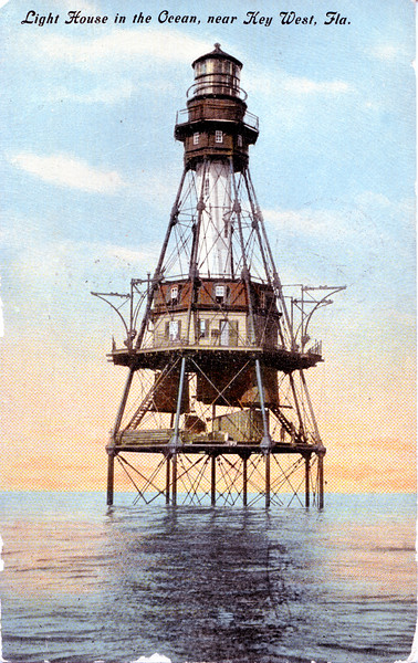 Old postcard view of the American Shoal Lighthouse