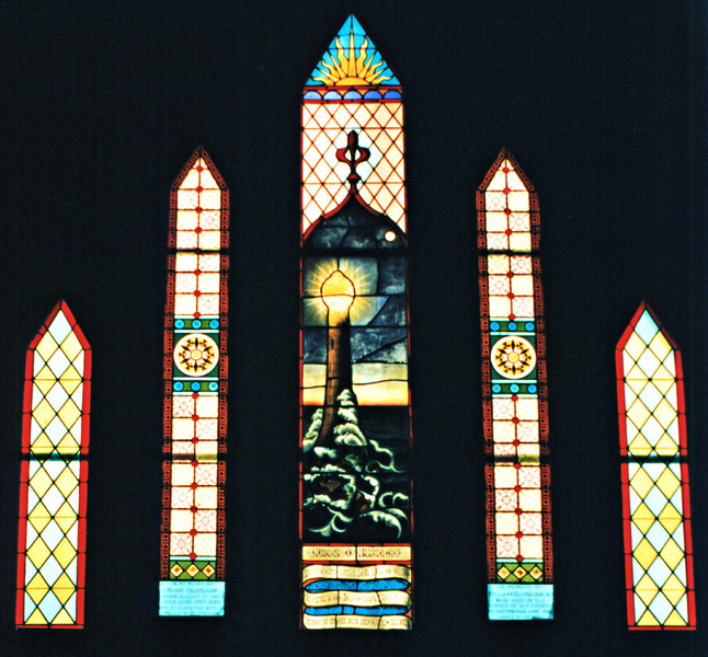 Stained glass windows installed in St. Gabriel's Episcopal Church in Titusville in memory of Mills Burnham and his family.