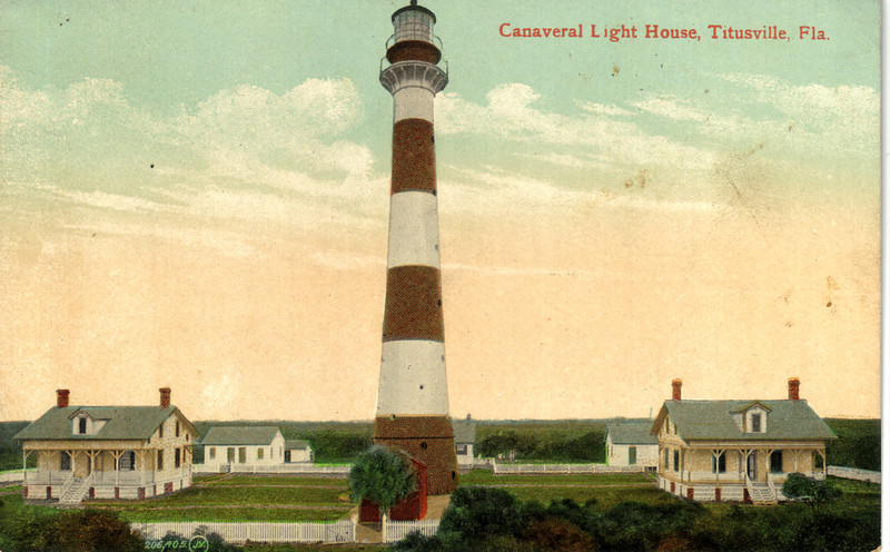 Old postcard view of the Cape Canaveral Lighthouse Station showing the Keepers dwellings.