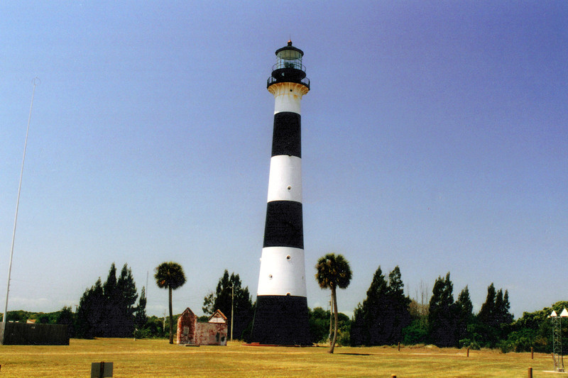 The first Cape Canaveral Lighthouse was a white 65 foot conical brick tower completed in January 1848 at a cost of $13,300.  The lantern was equipped with 15 oil lamps with 21 inch reflectors which rotated on a chandelier.  Nathaniel Scobie was appointed the first Keeper of the light.