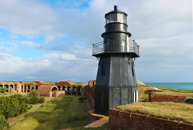 Transportation to Fort Jefferson is from Key West by either seaplane or boat.  There are grills and picnic tables, but all other items including fresh water need to be brought into and out of Garden Key by visitors.  The lighthouse atop Fort Jefferson has been restored and a decorative light is now found in its lantern.