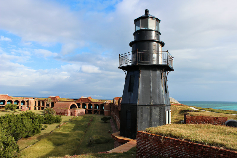 Work on Fort Jefferson began in 1846.  It would become the largest brick structure in the Western hemisphere, a six sided fort with walls fifty feet high and eight feet thick, with plans for 450 guns and 1,500 men.  Although construction of the fort continued for 30 years, it was never completed.