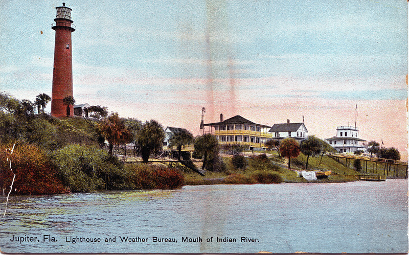 Old postcard view of the Jupiter Inlet Lighthouse