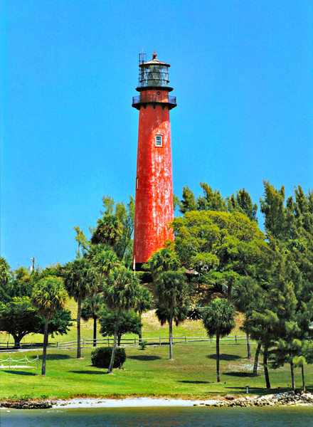 Lt. George G. Meade, then with the Bureau of Topographical Engineers, was tasked with selecting the building site and designing the Jupiter Lighthouse tower.  A 48 foot Indian shell mound at the confluence of the Indian and Loxahatchee Rivers was chosen as the site for the tower to provide additional height for the beacon.