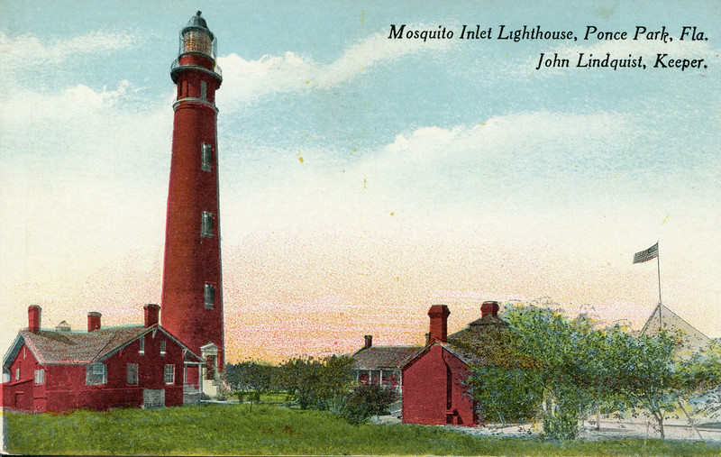 An old postcard view of the lighthouse station from when John Lindquist served as Head Keeper. Linquist was Head Keeper from 10/3/1905 to 6/30/1924.