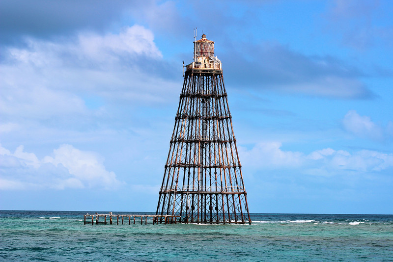 The new lighthouse was lit on July 20, 1853.  In the ensuing years the lighthouse was battered by more hurricanes, and the reformed islet was once again washed away, but the lighthouse remained steadfast upon its foundation.