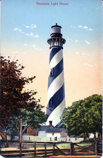An old postcard view of the lighthouse tower.
