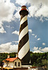 The daymark assigned to the St. Augustine tower was black & white spiral bands painted on the tower topped by a red lantern.  Although the Keeper's house was wired for electricity in 1925, the tower was not electrified until 1936.  Eventually the light was automated in 1955 and the lighthouse complex was destaffed.  For a few years the dwelling was rented out as a residence.