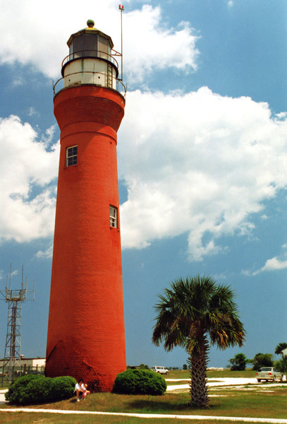 Erosion of the sandy foundation in the first few years resulted in a leaning tower, and the government decided to tear down the light in 1834 and rebuild a new structure.  In 1835 a new lighthouse was completed for $9,000 on the northern side of the river entrance.  Eventually the second light also became endangered by the 1850's.  A storm had cut a breach into the land surrounding the lighthouse and it was decided to rebuild once again at a safer site.