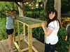 Emily (a Dog Rescue Helper  from Rollins College) and her sister, who was visiting from MI, helped build the pen to hold the ducks and keep them safe from raccoons and other predators.