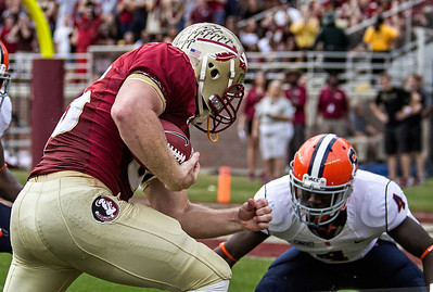 Nick O'Leary prepares to run through Syracuse defensive back Brandon Reddish as the #2 ranked Florida State Seminoles dominated Syracuse 59-3 Saturday at Doak Campbell stadium.  The Seminoles complete the 2013 home stand next weekend against Idaho before travelling to Gainesville to close out the regular season.
