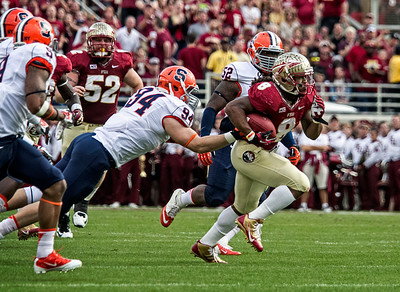Devonta Freeman carries the ball in the first quarter as the #2 ranked Florida State Seminoles dominated Syracuse 59-3 Saturday at Doak Campbell stadium.  The Seminoles complete the 2013 home stand next weekend against Idaho before travelling to Gainesville to close out the regular season.