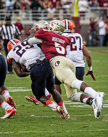 LB Reggie Northrup makes a diving tackle on Syracuse RB Devante McFarlane.  Northrup led the Seminoles in tackles with 11. The #2 ranked Florida State Seminoles dominated Syracuse 59-3 Saturday at Doak Campbell stadium.  The Seminoles complete the 2013 home stand next weekend against Idaho before travelling to Gainesville to close out the regular season.