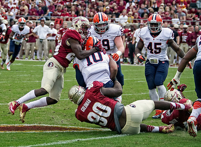 Lamarcus Joyner and Eddie Goldman combine on a sack of Syracuse QB Terrel Hunt.  The #2 ranked Florida State Seminoles dominated Syracuse 59-3 Saturday at Doak Campbell stadium.  The Seminoles complete the 2013 home stand next weekend against Idaho before travelling to Gainesville to close out the regular season.