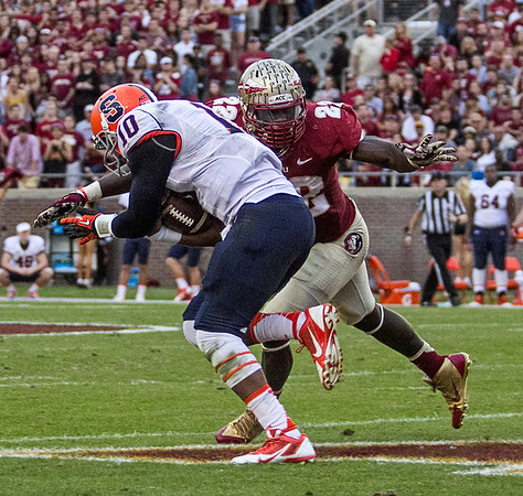 LB Telvin Smith tackles Syracuse QB Terrel Hunt as Hunt escaped initial pressure late Saturday. The #2 ranked Florida State Seminoles dominated Syracuse 59-3 at Doak Campbell stadium.  The Seminoles complete the 2013 home stand next weekend against Idaho before travelling to Gainesville to close out the regular season.