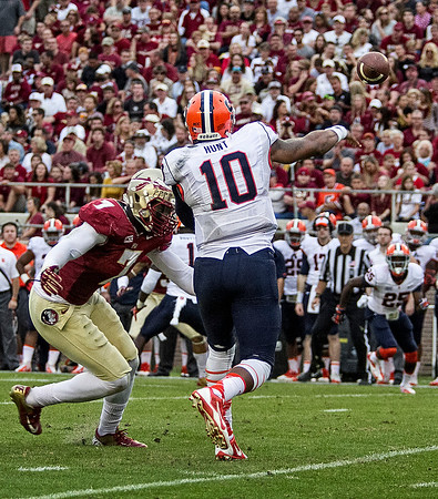 Syracuse QB Terrel Hunt just does get a pass off before being hit by Christian Jones as the #2 ranked Florida State Seminoles dominated Syracuse 59-3 Saturday at Doak Campbell stadium.  The Seminoles complete the 2013 home stand next weekend against Idaho before travelling to Gainesville to close out the regular season.