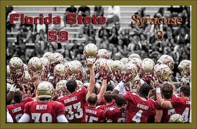 The #2 ranked Florida State Seminoles dominated Syracuse 59-3 Saturday at Doak Campbell stadium.  The Seminoles complete the 2013 home stand next weekend against Idaho before travelling to Gainesville to close out the regular season.