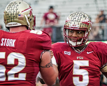 Hand in hand, as Jameis Winston and Bryan Stork prepare for the start of the game Saturday.  The #2 ranked Florida State Seminoles dominated Syracuse 59-3 Saturday at Doak Campbell stadium.  The Seminoles complete the 2013 home stand next weekend against Idaho before travelling to Gainesville to close out the regular season.