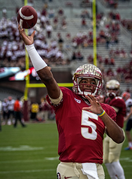 QB Jameis Winston warms up prior to the game . Winston ended the day going 19 for 21 - 277 yards - 2 TD's.  The #2 ranked Florida State Seminoles dominated Syracuse 59-3 Saturday at Doak Campbell stadium.  The Seminoles complete the 2013 home stand next weekend against Idaho before travelling to Gainesville to close out the regular season.