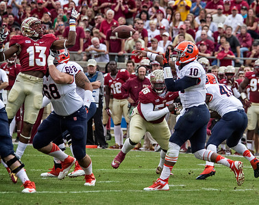 Jalen Ramsey attempts to block Terrel Hunt's pass as the #2 ranked Florida State Seminoles dominated Syracuse 59-3 Saturday at Doak Campbell stadium.  The Seminoles complete the 2013 home stand next weekend against Idaho before travelling to Gainesville to close out the regular season.