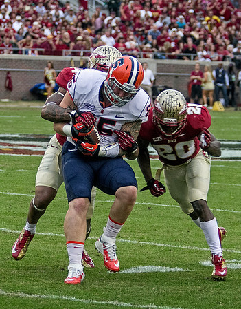 Terrance Smith and Lamarcus Joyner team up to punish Syracuse TE Beckett Wales after a rare reception as the #2 ranked Florida State Seminoles dominated Syracuse 59-3 Saturday at Doak Campbell stadium.  The Seminoles complete the 2013 home stand next weekend against Idaho before travelling to Gainesville to close out the regular season.