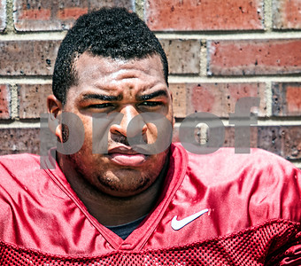 """Josue Matias awaits the start of the 2nd scrimmage of Fall Camp Wednesday.  Jimbo Fisher was pleased with the results of Wednesday's scrimmage saying, """"Both sides probably won their share of situations … had their moments going back and forth, pretty competitive in the series. I thought, consistent football this time""""."""