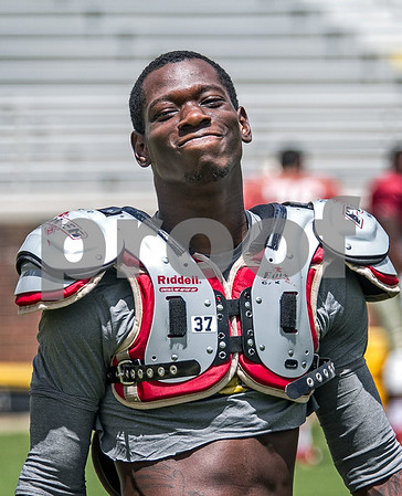 """DB Keelin Smith loosens up as the Seminoles prepare for scrimmage #2 at Doak Campbell stadium.  Jimbo Fisher was pleased with the results of Wednesday's scrimmage saying, """"Both sides probably won their share of situations … had their moments going back and forth, pretty competitive in the series. I thought, consistent football this time"""".  The 11th ranked Seminoles open the season at Pittsburgh Labor Day night."""