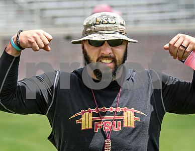 """Strength and Conditioning Coach Vic Viloria motivates his team prior to the 2nd scrimmage of Fall camp.  Jimbo Fisher was pleased with the results of Wednesday's scrimmage. """"Both sides probably won their share of situations … had their moments going back and forth, pretty competitive in the series. I thought, consistent football this time""""."""