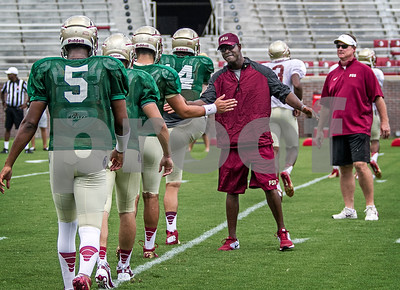 "Asst Mario Edwards Sr motivates the QB's as they prepare for stretching prior to scrimmage.  Jimbo Fisher was pleased with the results of the scrimmage saying, ""Both sides probably won their share of situations … had their moments going back and forth, pretty competitive in the series. I thought, consistent football this time"".  The 11th ranked Seminoles open the season at Pittsburgh Labor Day night."