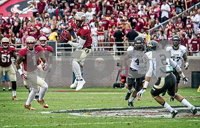 WR Kenny Shaw leaps for a reception over the middle Saturday as Florida State set a school record for most points scored as they dominated Idaho 80-14 in the last home game of the season. Shaw ended the day with 5 receptions totaling 105 yards and 2 TD's.