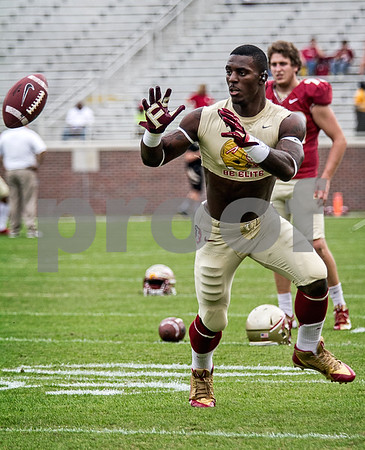 James Wilder Jr goes through his pregame routine Saturday as the 'Noles faced the Idaho Vandals.  The Seminoles set a school record for most points scored as they dominated Idaho 80-14 in the last home game of the season.