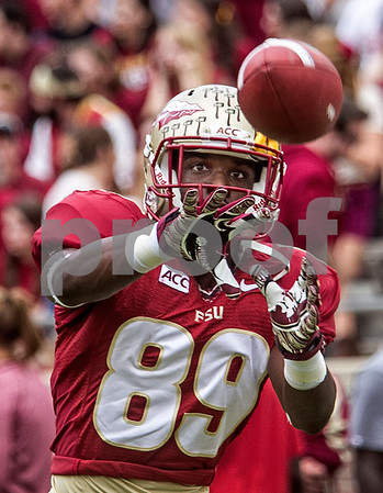 WR Christian Green focuses on a pass during pre-game drills Saturday. The Seminoles set a school record for most points scored as they dominated Idaho 80-14 in the last home game of the season.