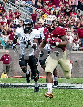 Devonta Freeman outruns the Idaho secondary on his way to a 60 yd TD.  Freeman finished the day with 131 yards on only 11 carries.  The Seminoles set a school record for most points scored as they dominated Idaho 80-14 in the last home game of the season.